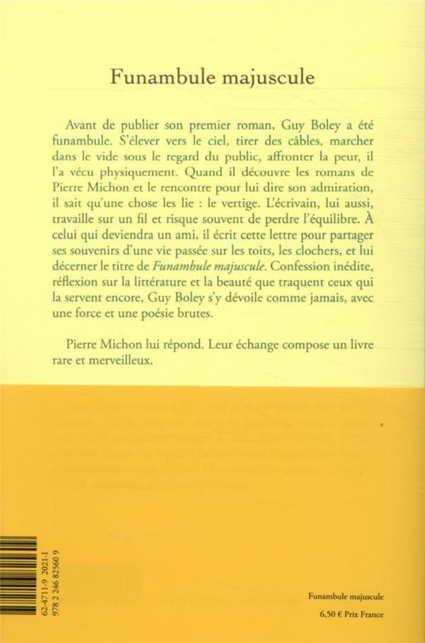 funambule majuscule ; lettre à Pierre Michon ; réponse de Pierre Michon