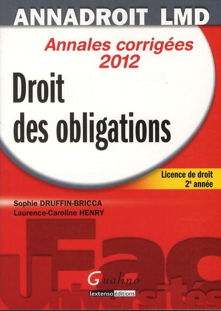 ; licence de droit, 2ère année ; annales corrigées 2012