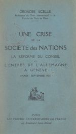 Une crise de la Société Des Nations