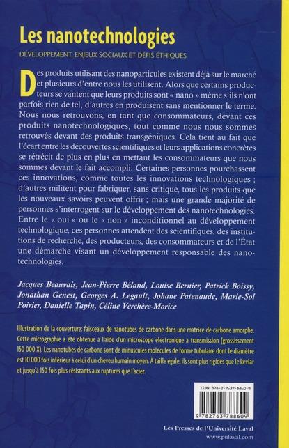 les nanotechnologies ; développement, enjeux sociaux et défis éthiques