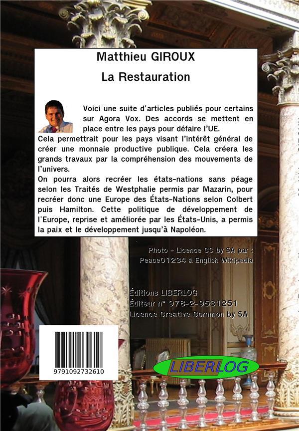 La restauration ; articles 2015 à 2019