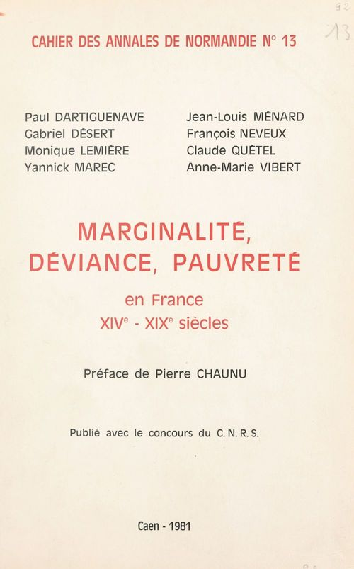 Marginalité, déviance, pauvreté  - Paul Dartiguenave  - Gabriel Désert