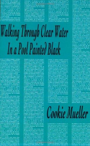 Cookie mueller walking through clear water in a pool painted black /anglais