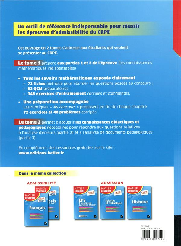 Mathématiques t.2 ; CRPE ; épreuve écrite d'admissibilité (édition 2020)