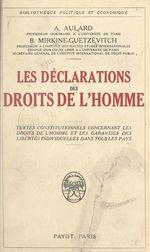 Vente EBooks : Les déclarations des Droits de l'Homme  - Alphonse Aulard - Boris Mirkine-Guetzévitch