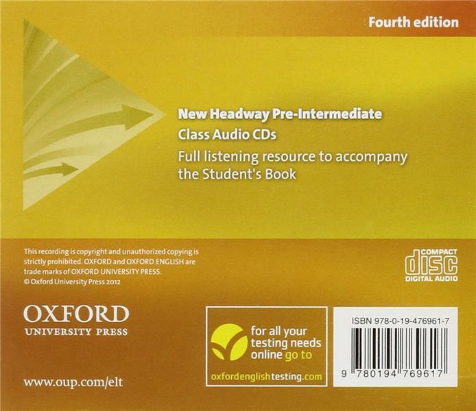 New headway, 4th edition pre-intermediate: class audio cds (3)
