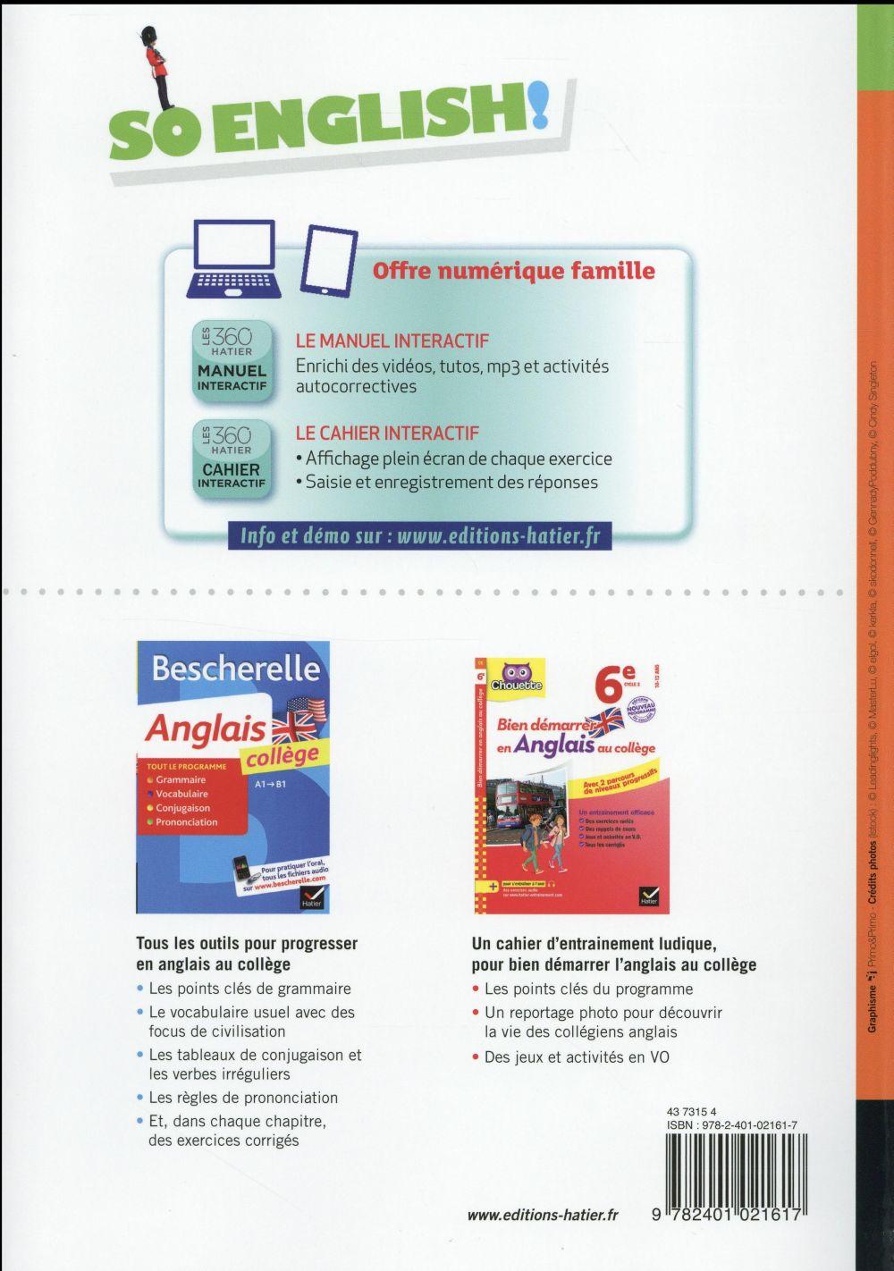 SO ENGLISH! ; anglais ; 6ème ; manuel de l'élève (édition 2016)