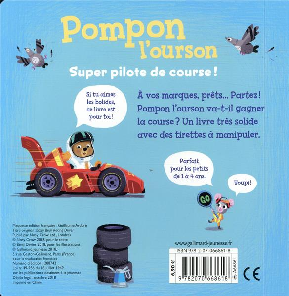 Pompon l'ourson ; super pilote de course !