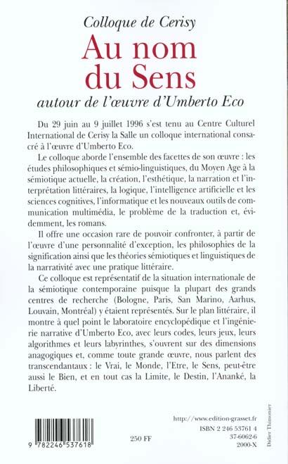 Au nom du sens - autour d'umberto eco