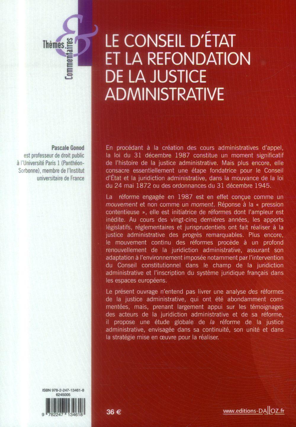 Le conseil d'Etat et la refondation de la justice administrative