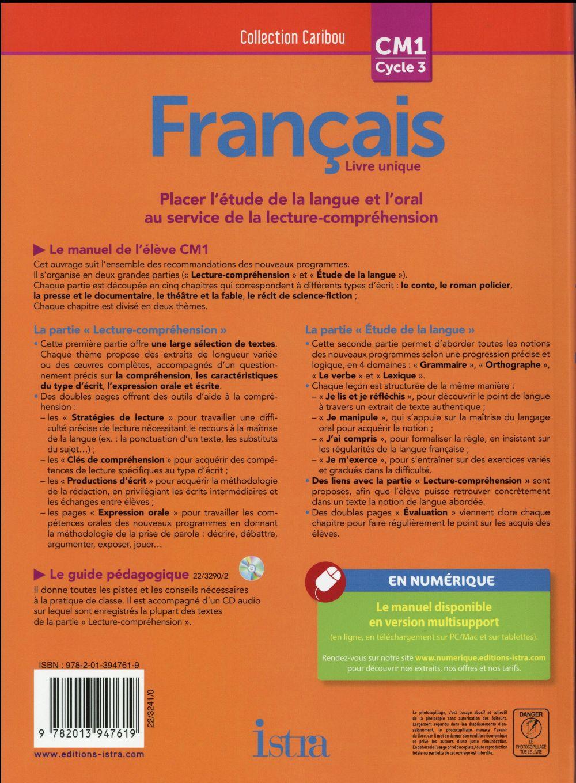 Caribou Francais Cm1 Livre De L Eleve Edition 2016 Pascal Dupont Sophie Raimbert Istra Grand Format Paris Librairies