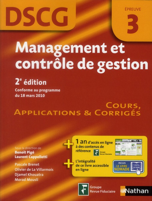 Management Et Controle De Gestion ; Epreuve 3 ; Dscg ; Manuel Applications Et Corriges 2012 (2e Edition)