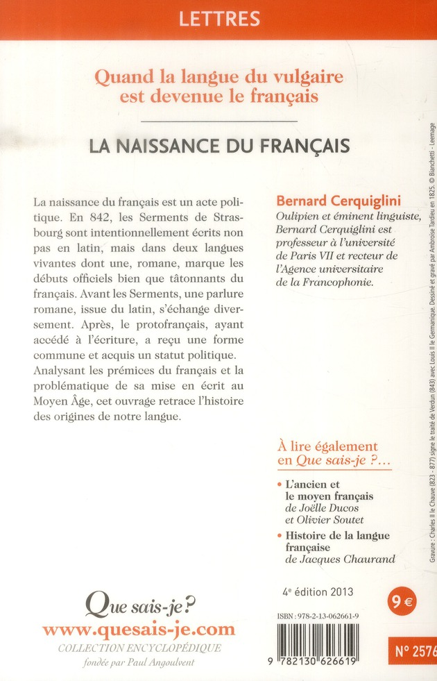 La naissance du francais (4e édition)
