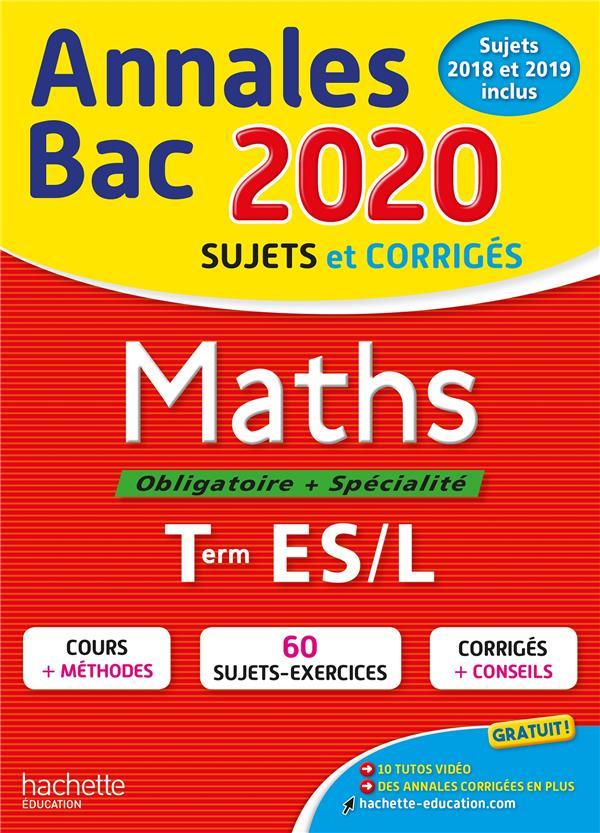 Annales bac ; sujets et corrigés ; maths ; terminale ES (édition 2020)