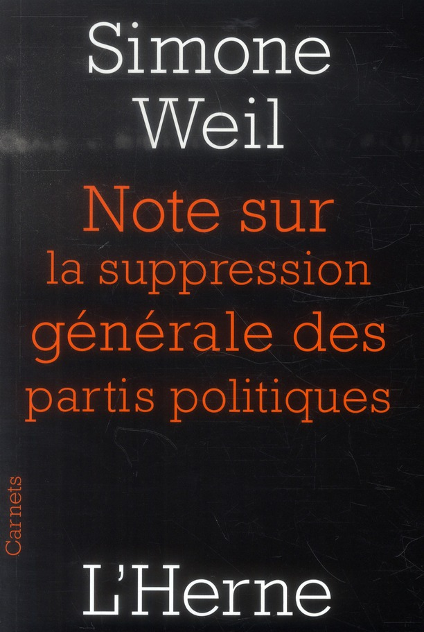 Notes Sur La Suppression Generale Des Partis Politiques