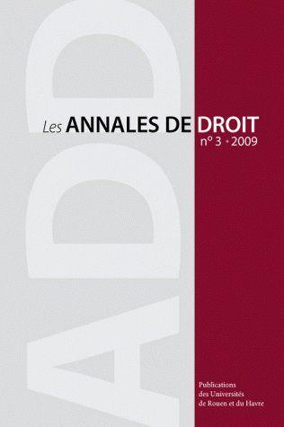 Les annales de droit t.3 (édition 2009)