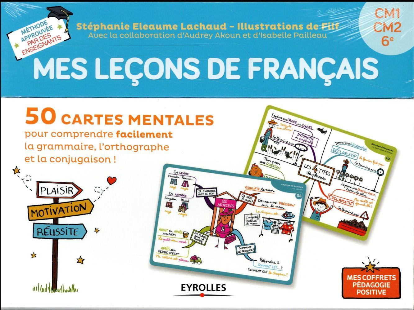 MES LECONS DE FRANCAIS  -  CM1, CM2, 6E  -  50 CARTES MENTALES
