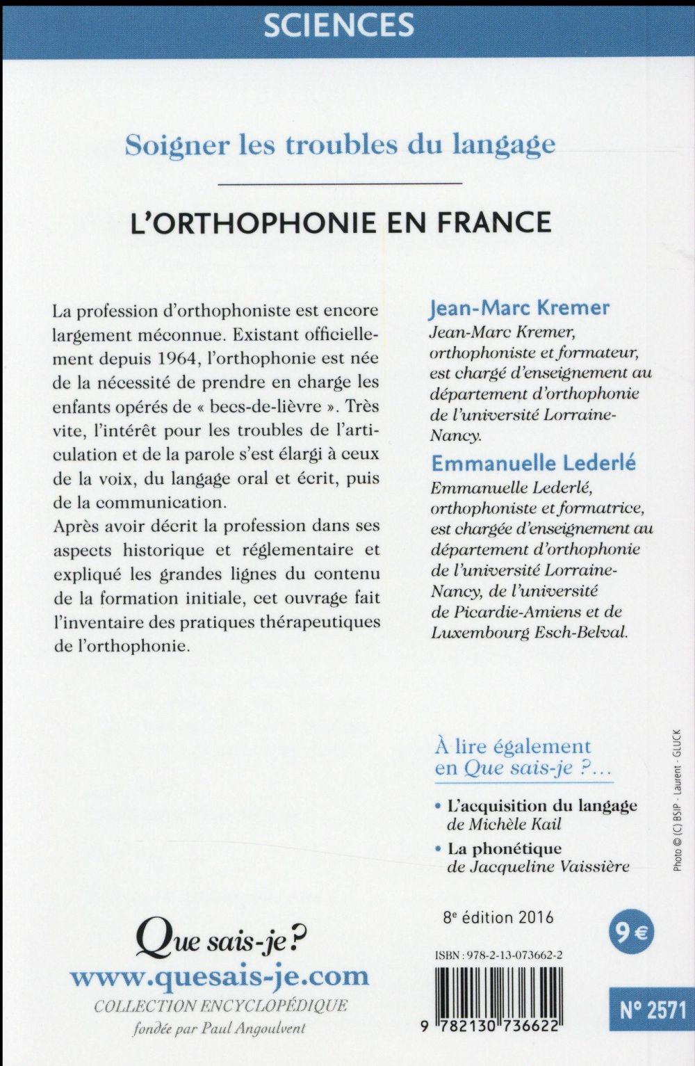 L'orthophonie en France (8e édition)