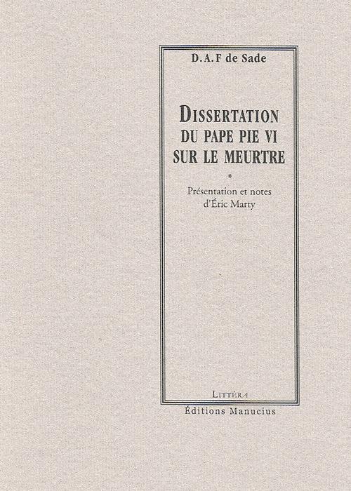 Dissertation du Pape Pie VI sur le meurtre