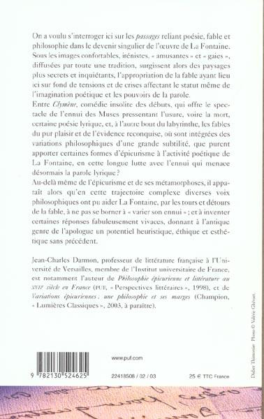 Philosophies de la fable : La Fontaine et la crise du lyrisme