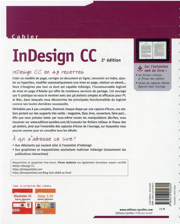 cahier indesign CC : débutants et initiés (2e édition)