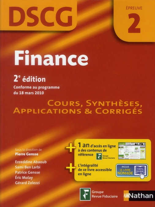 Finance ; Epreuve 2 ; Dscg ; Manuel Applications Et Corriges 2012