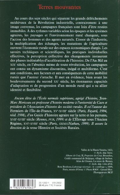Terres mouvantes - les campagnes francaises, du feodalisme a la mondialisation (xiie-xixe siecle)