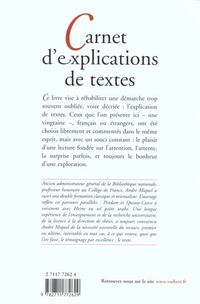 Carnet d'explications de textes