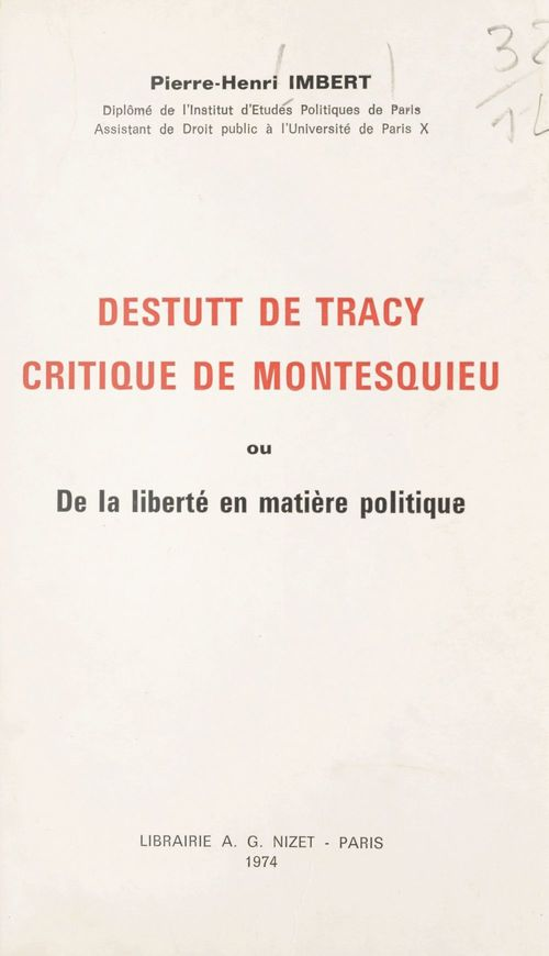 Destutt de Tracy, critique de Montesquieu