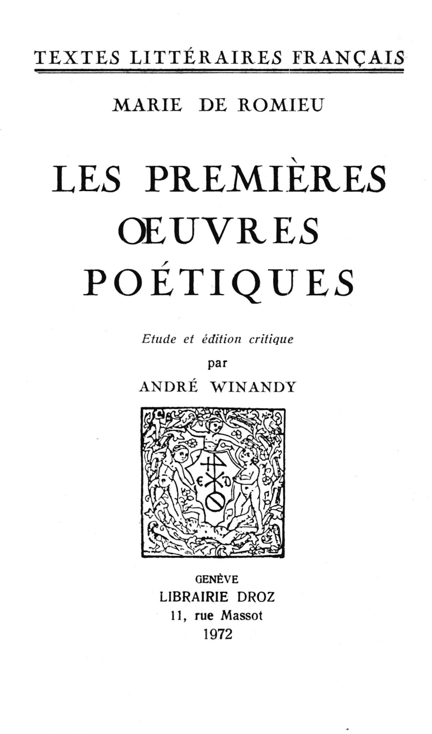Les premieres oeuvres poetiques