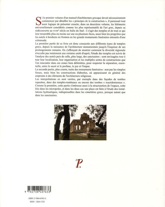 Architecture grecque tome 2