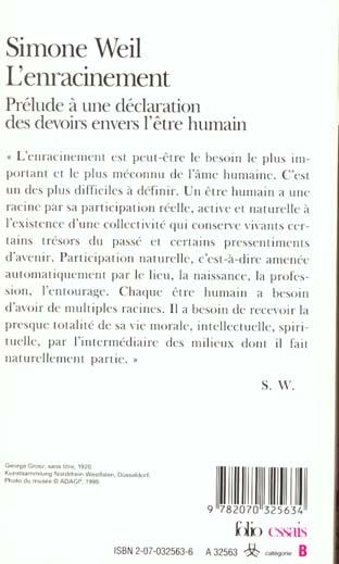 L'enracinement ; prélude à une déclaration des devoirs envers l'être humain
