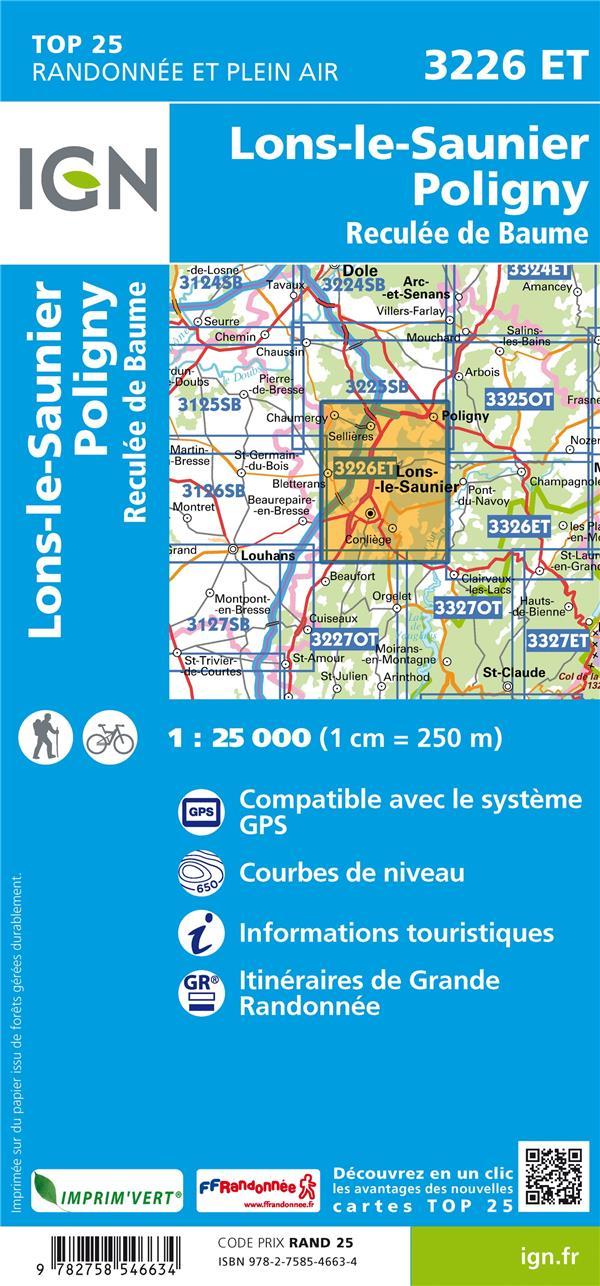 3226ET ; Lons-le-Saunier, Poligny, Reculée de Baume (3e édition)