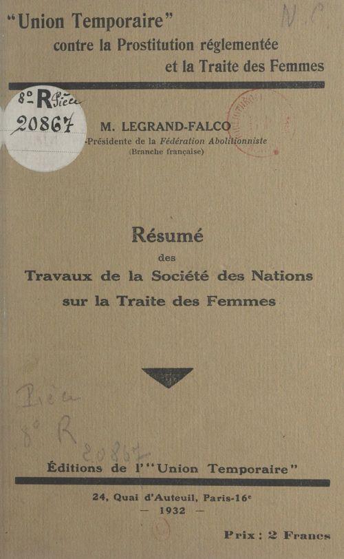 Vente EBooks : Résumé des travaux de la Société des nations sur la traite des femmes  - Marcelle Legrand-Falco