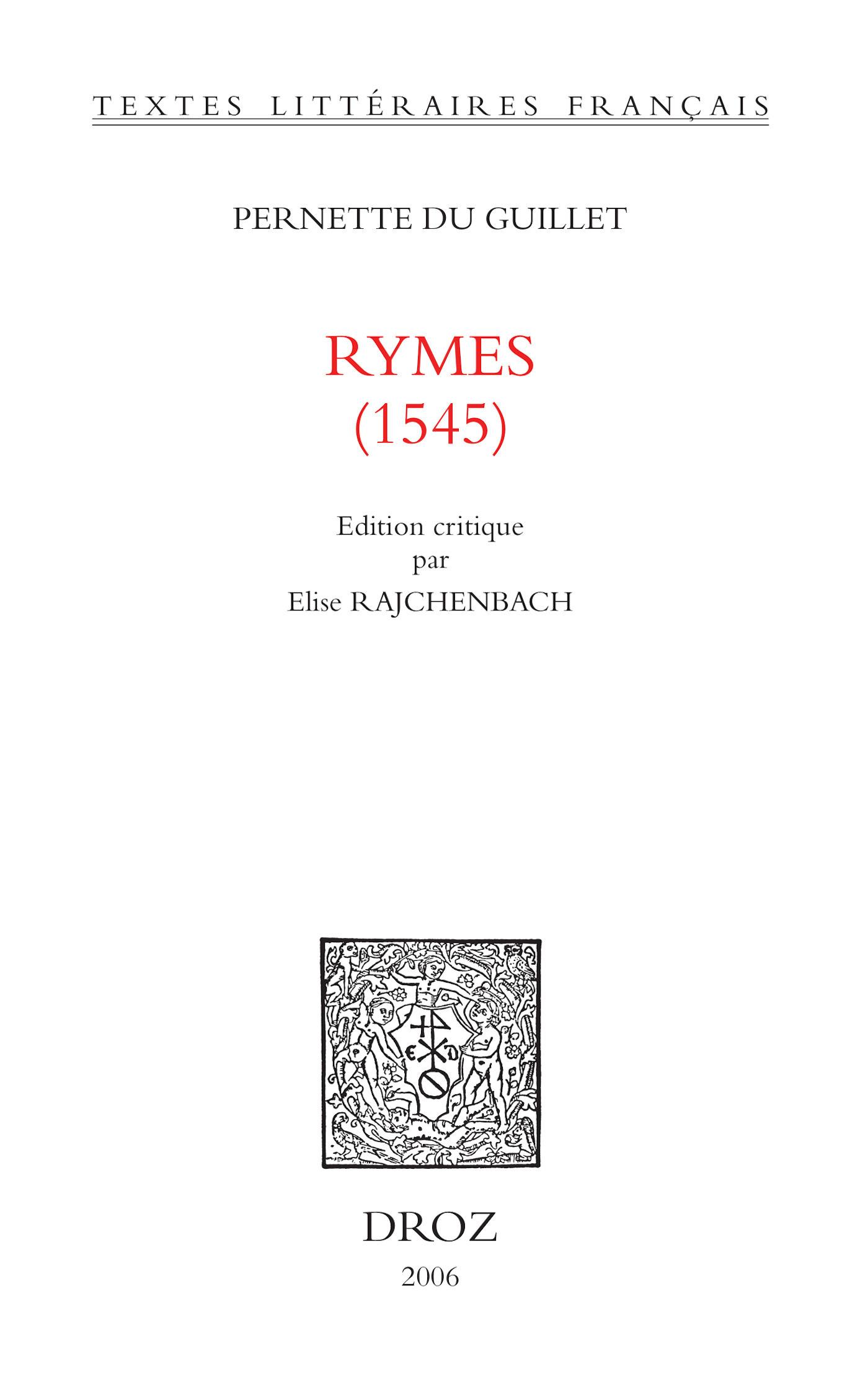 Rymes : 1545  - Pernette du Guillet