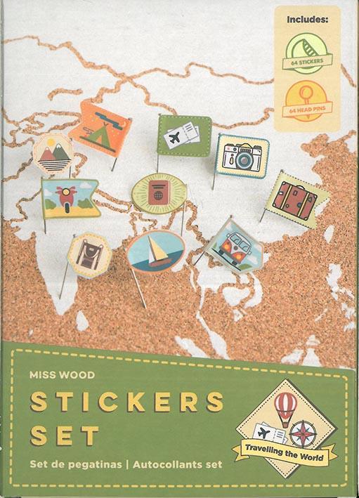 Stickers set ; parcourir le monde