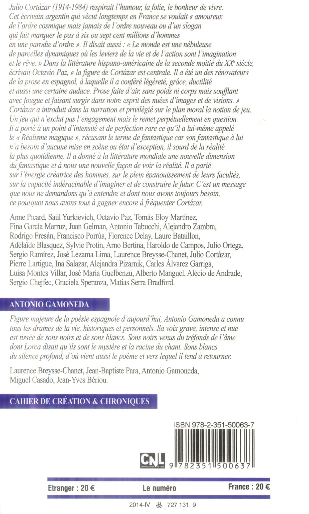 Revue europe t.1020; julio cortazar
