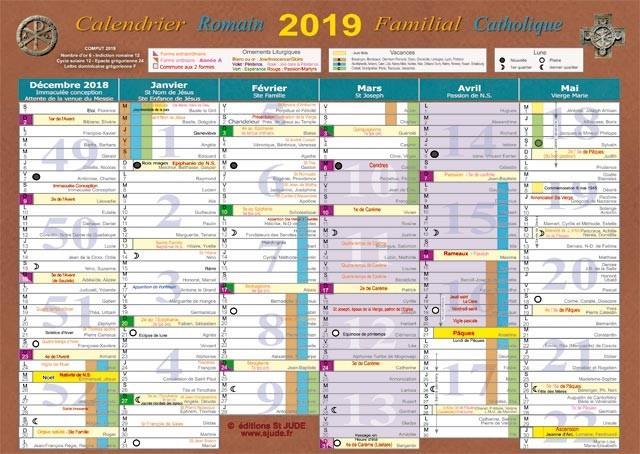 calendrier familial catholique (édition 2019)