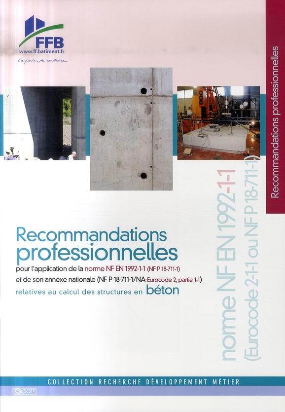 Recommandations professionnelles pour l'application  de la norme nf re 1992-1-1 et de son annexe nat