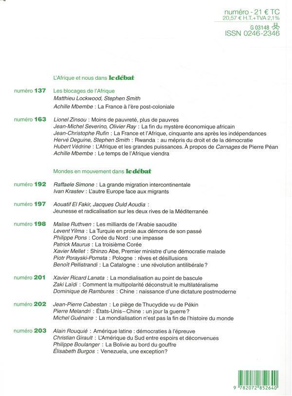 Revue le debat n.205 ; mai-aout 2019