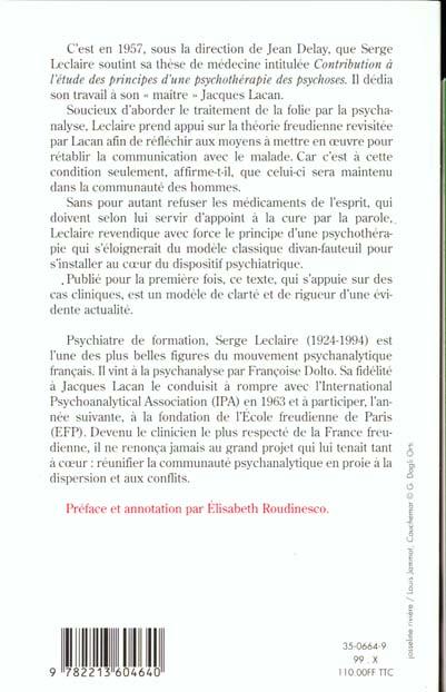 principes d'une psychotherapie des psychoses