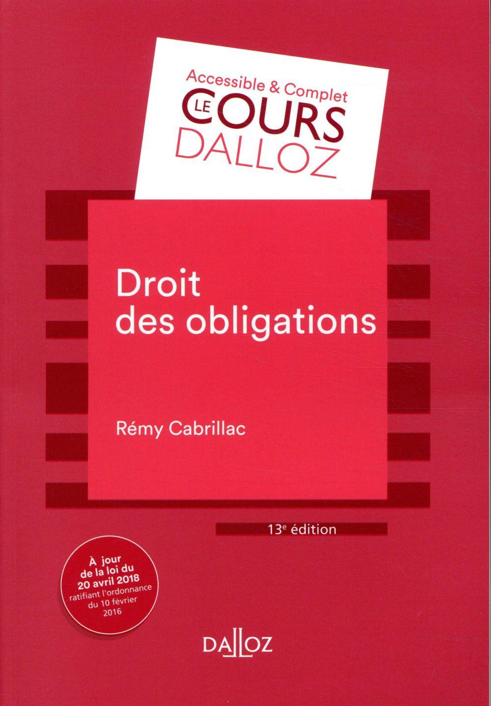 Droit des obligations (13e édition)