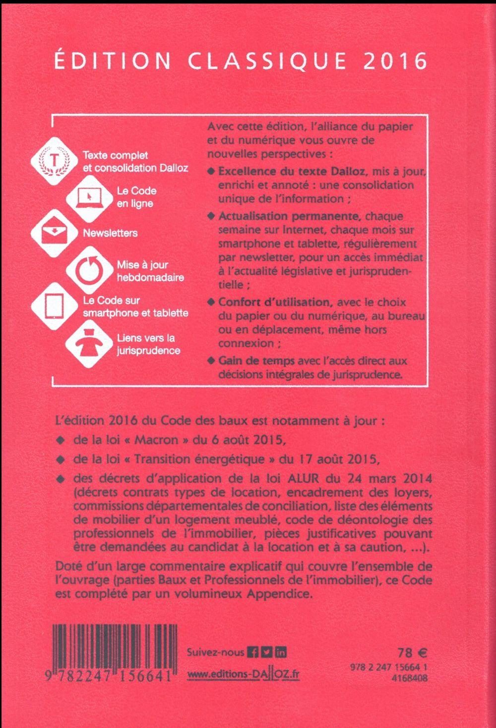 Code des baux, commenté (édition 2016)