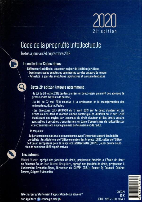 Code de la propriété intellectuelle (édition 2020)