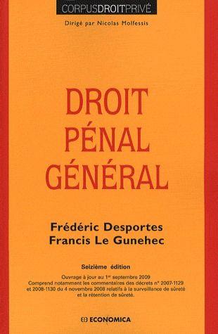 Droit pénal général (16e édition)