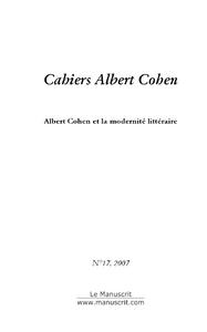 Albert Cohen et la modernité littéraire
