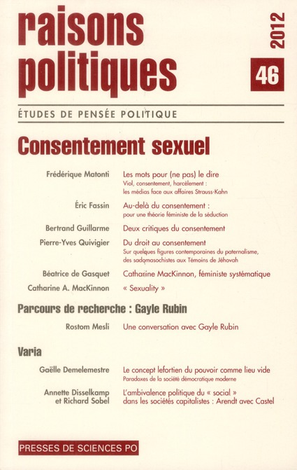 Revue raisons politiques n.46 ; consentement sexuel
