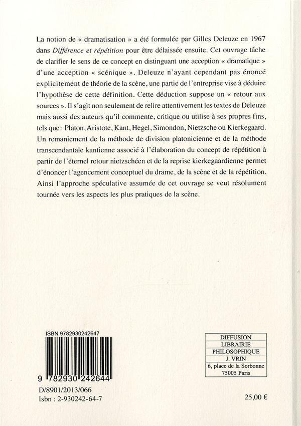 Gilles Deleuze, théâtre et philosophie ; la méthode de dramatisation