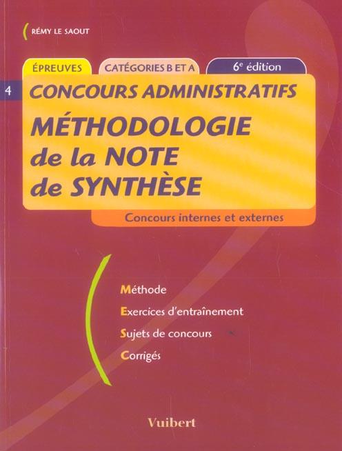 Methodologie De La Note De Synthese 6e Edition Remy Le Saout Vuibert Grand Format Le Hall Du Livre Nancy