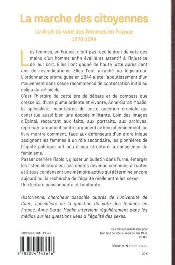 la marche des citoyennes ; le droit de vote des femmes en France (1870-1944)
